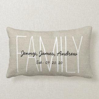 Linen Look Custom Family Monogram Personalized Pillow