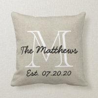 Linen Look Custom Family Monogram Pillow