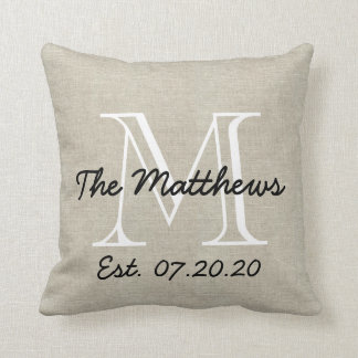 Linen Look Custom Family Monogram Throw Pillow