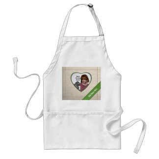 Linen Look Heart Frame: Add a Photo and Text Adult Apron