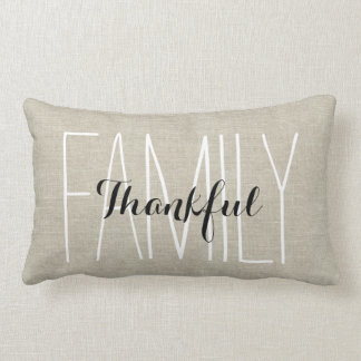 Linen Look Thankful Family Personalized Keepsake Lumbar Pillow