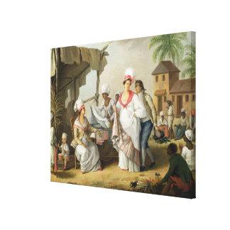 Linen Market, Roseau, Dominica, c.1780 (oil on can Canvas Print