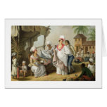 Linen Market, Roseau, Dominica, c.1780 (oil on can Greeting Card