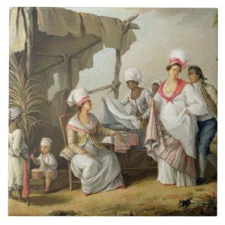 Linen Market, Roseau, Dominica, c.1780 (oil on can Ceramic Tile