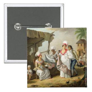 Linen Market, Roseau, Dominica, c.1780 (oil on can Pinback Button