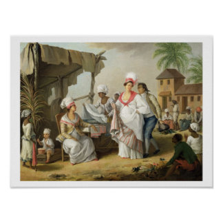 Linen Market, Roseau, Dominica, c.1780 (oil on can Poster
