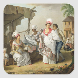 Linen Market Roseau Dominica c 1780 oil on can Square Sticker