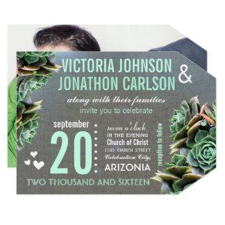 Linen Mint Succulent Your Photo Wedding Card