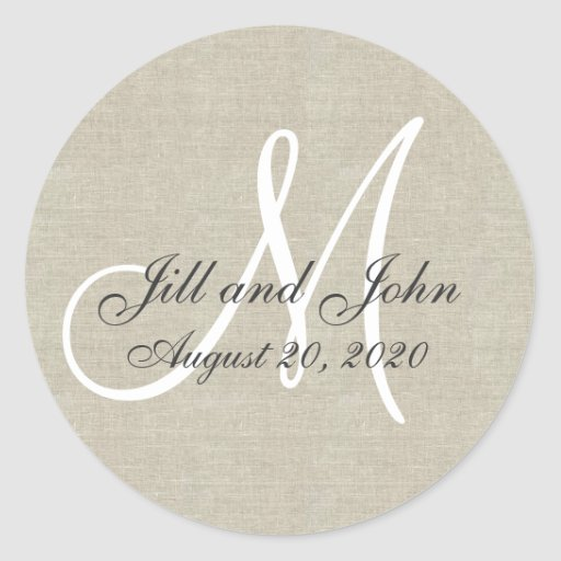 Linen Monogram Wedding Favor Sticker