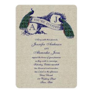 Linen Peacock Rustic Wedding Invitation 5.5