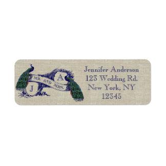 Linen Peacock Rustic Wedding Label