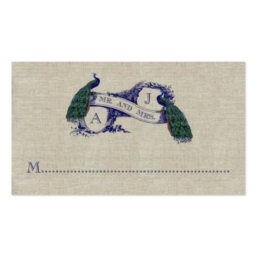 Linen Peacock Rustic Wedding Place Card Business Card
