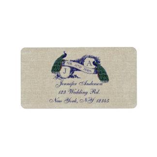 Linen Peacock Rustic Wedding RSVP Labels
