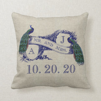 Linen Peacock Rustic Wedding Sweetheart Pillow
