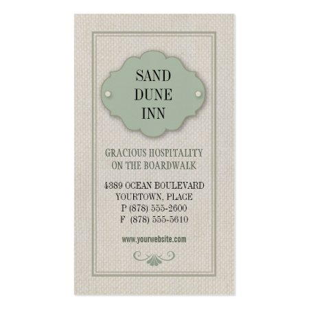 Linen Plaque Bed and Breakfast Business Cards