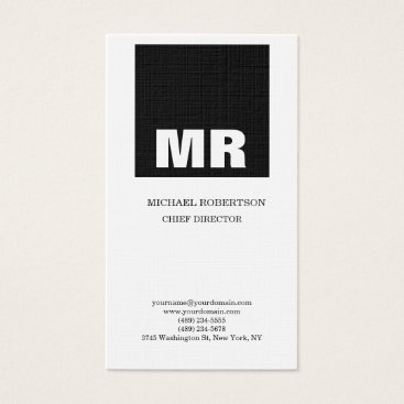 Lawyer Themed Linen Professional Monogram Black & White Plain Business Card