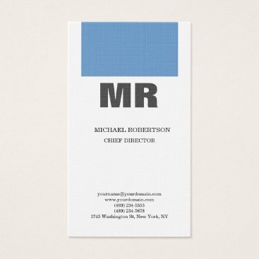 Lawyer Themed Linen Professional Monogram Blue Grey White Plain Business Card