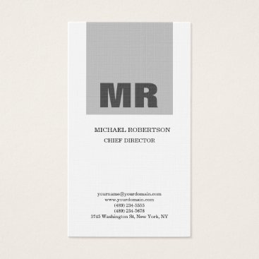 Lawyer Themed Linen Professional Monogram Grey & White Plain Business Card
