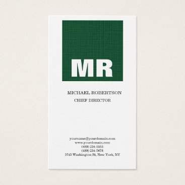 Lawyer Themed Linen Professional Monogram White Green Plain Business Card
