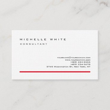 Linen Red White Classic Elegant Plain Professional Business Card
