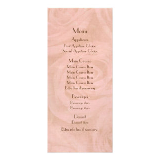 Linen Roses Wedding Menu Full Color Rack Card