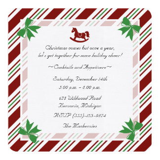 Linen Rounded Candy Cane Holiday Party Invitation