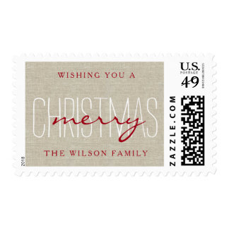 Linen Rustic Merry Christmas Holiday Photo Postage