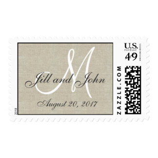 Linen Rustic Save the Date Postage Stamps