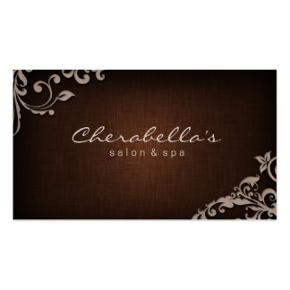 Linen Salon Spa Floral Business Card Brown Beige