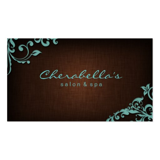 Linen Salon Spa Floral Business Card Brown Blue