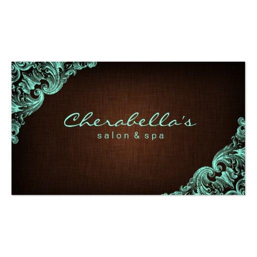 Linen Salon Spa Floral Business Card Brown Mint
