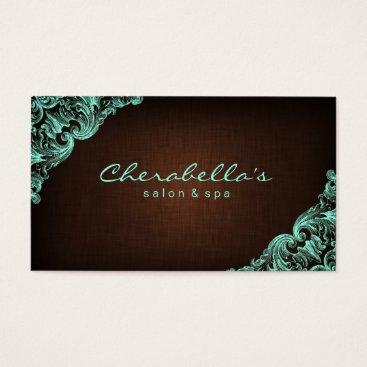 Professional Business Linen Salon Spa Floral Business Card Brown Mint