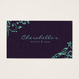 Linen Salon Spa Floral Business Card Purple Blue
