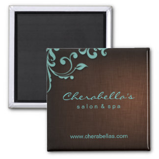 Linen Salon Spa Floral Magnet Brown Blue