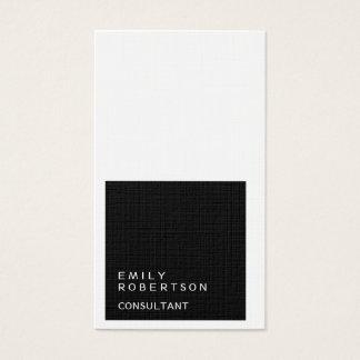 Linen Simple Plain Black & White Modern Minimalist Business Card