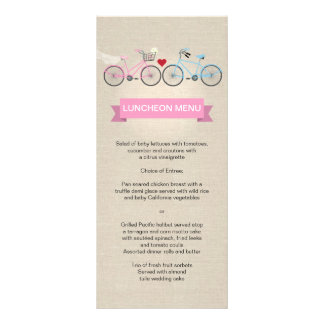 Linen Style Bicycle Pink Wedding Menu Rack Card Template