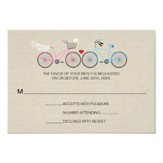 Linen Style Bicycle Pink Wedding Reply RSVP Personalized Announcements