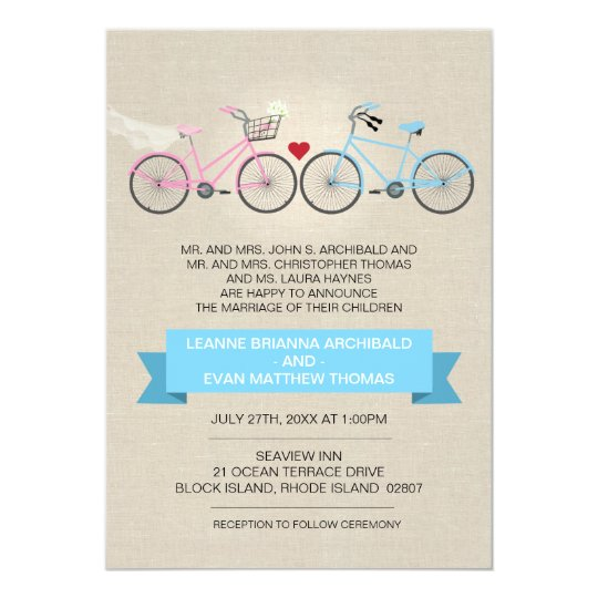 Linen Style Bicycle Wedding Card