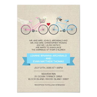 Linen Style Bicycle Wedding 5x7 Paper Invitation Card