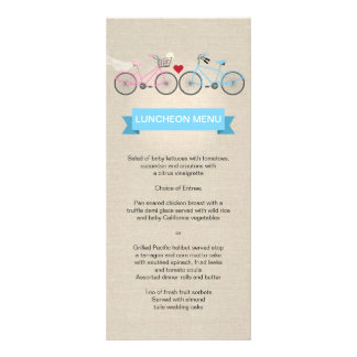 Linen Style Bicycle Wedding Menu Rack Cards