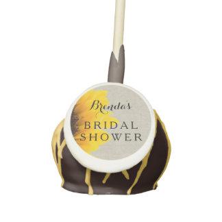 linen sunflower bridal shower cake pops