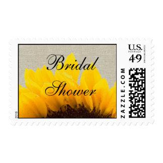 Linen Sunflower Bridal Shower Postage