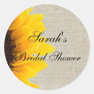Linen Sunflower Rustic Bridal Shower Sticker Round Sticker