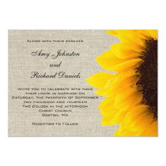"Linen Sunflower Rustic Wedding Invitation 5"" X 7"" Invitation Card"