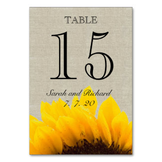 Linen Sunflower Rustic Wedding Table Number Card