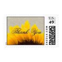 Linen Sunflower | Wedding Thank You Postage