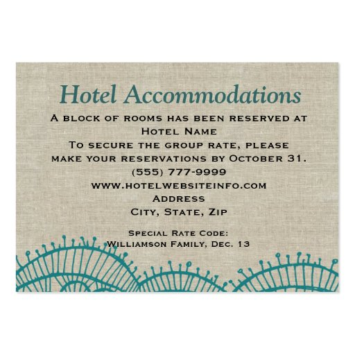 linen teal lace hotel accommodation insert cards large business cards pack of 100 zazzle. Black Bedroom Furniture Sets. Home Design Ideas