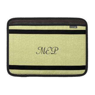 Linen Texture & Black Monogram Sleeve For MacBook Air