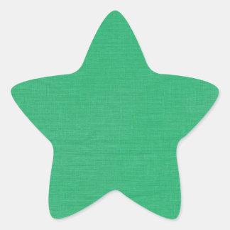 Linen Texture Fabric Background // Kelly Green Star Sticker