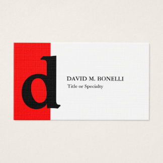 Linen trendy modern red black monogram business card